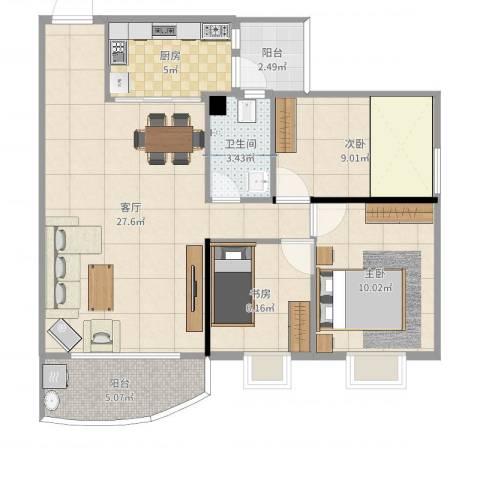 东华花园3室1厅1卫1厨82.00㎡户型图