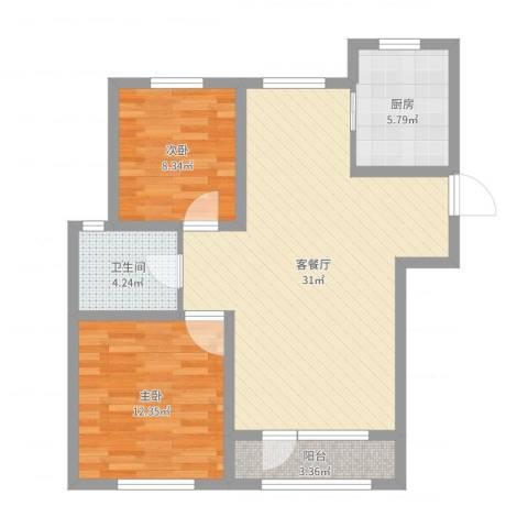 外滩九号2室2厅1卫1厨81.00㎡户型图