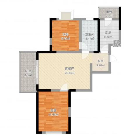 苏尚帝景2室2厅1卫1厨84.00㎡户型图