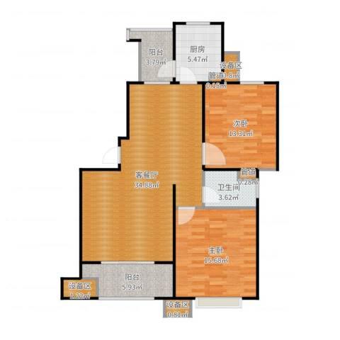 富顿街区2室2厅1卫1厨107.00㎡户型图
