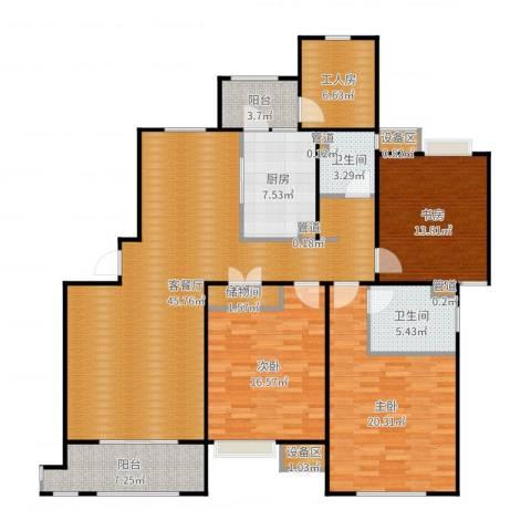 富顿街区3室2厅2卫1厨168.00㎡户型图