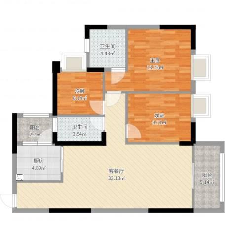 荔园悦享星醍3室2厅2卫1厨104.00㎡户型图