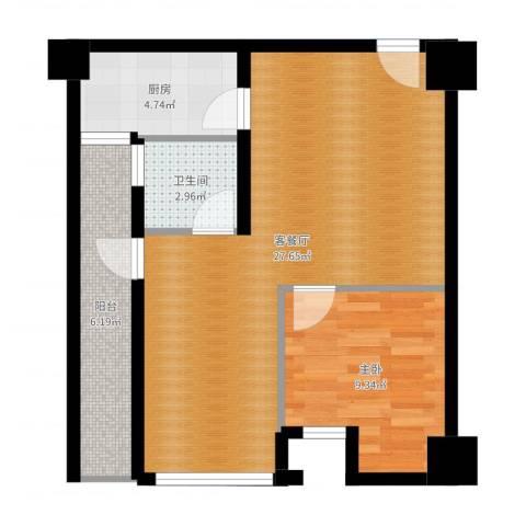司南3空间1室2厅1卫1厨64.00㎡户型图