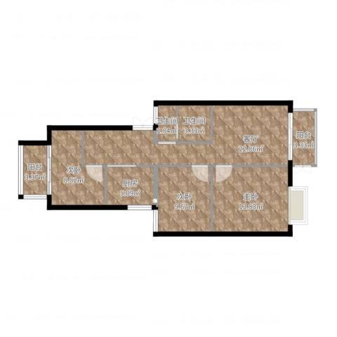 水木清华3室1厅2卫1厨90.00㎡户型图