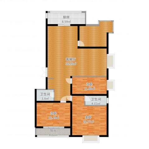 紫郡长安3室2厅2卫1厨177.00㎡户型图