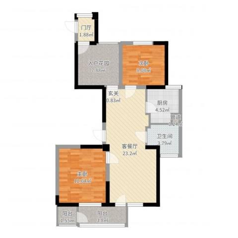 长江国际二期晶源2室2厅1卫1厨84.00㎡户型图
