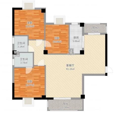 绿苑水岸名筑3室2厅2卫1厨122.00㎡户型图