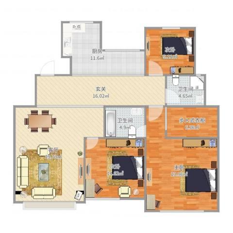 御翠豪庭3室1厅2卫1厨151.00㎡户型图