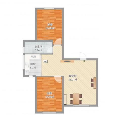 鑫城广场2室2厅1卫1厨96.00㎡户型图
