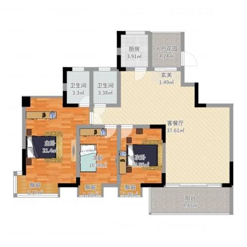 龙湾上和城3室2厅2卫1厨130.00㎡户型图