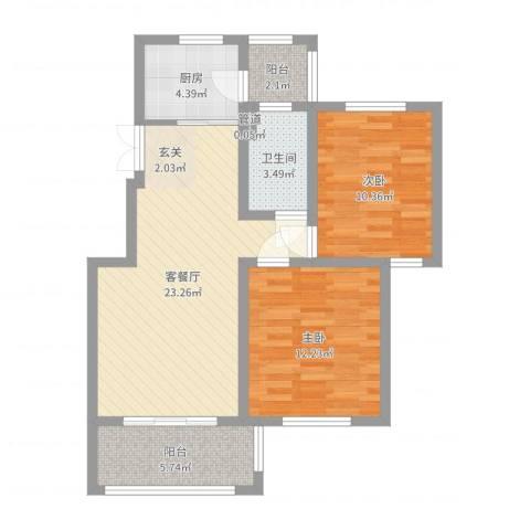 康桥郦湾2室2厅1卫1厨77.00㎡户型图
