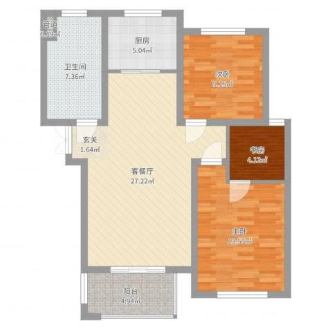 康桥郦湾3室2厅1卫1厨89.00㎡户型图