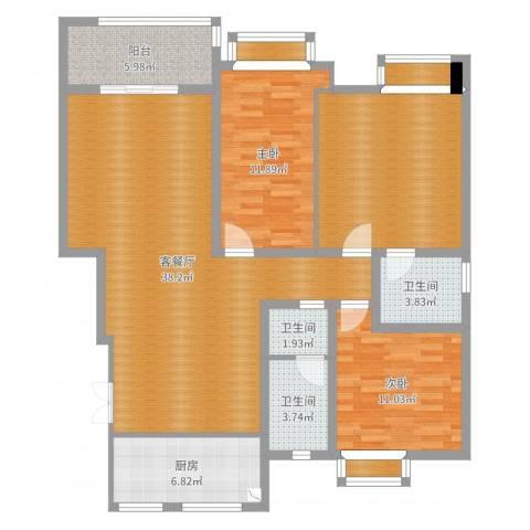 众发世纪城2室2厅3卫1厨127.00㎡户型图