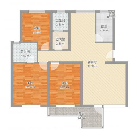 金边瑞香苑3室2厅2卫1厨121.00㎡户型图