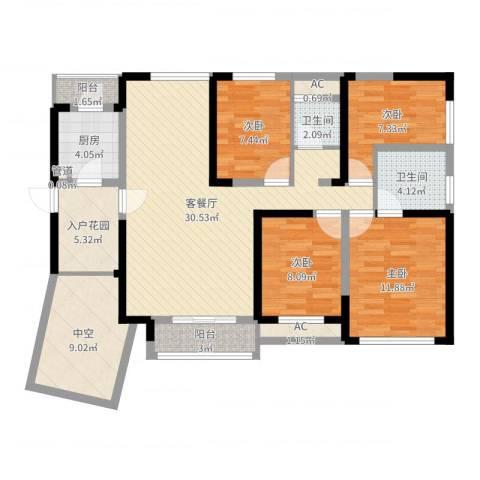 融科九重锦4室2厅2卫1厨121.00㎡户型图
