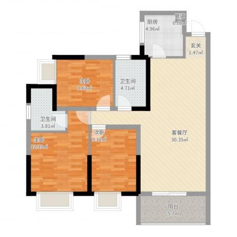 兰亭熙园3室2厅2卫1厨114.00㎡户型图