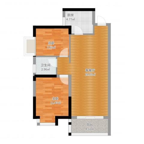 兰亭熙园2室2厅1卫1厨84.00㎡户型图