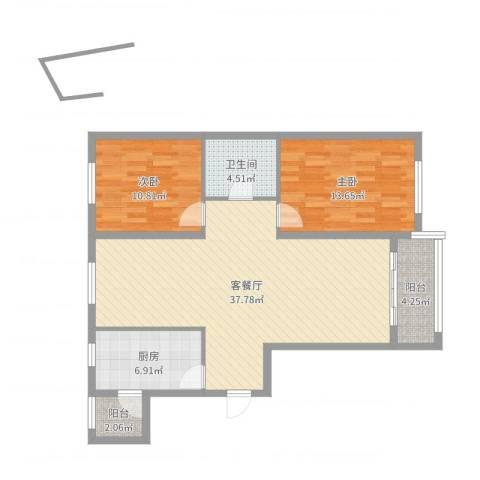 城市之星2室2厅1卫1厨100.00㎡户型图