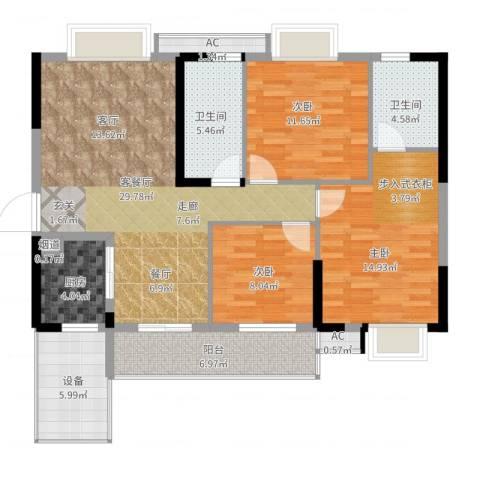 兰亭熙园3室2厅2卫1厨133.00㎡户型图