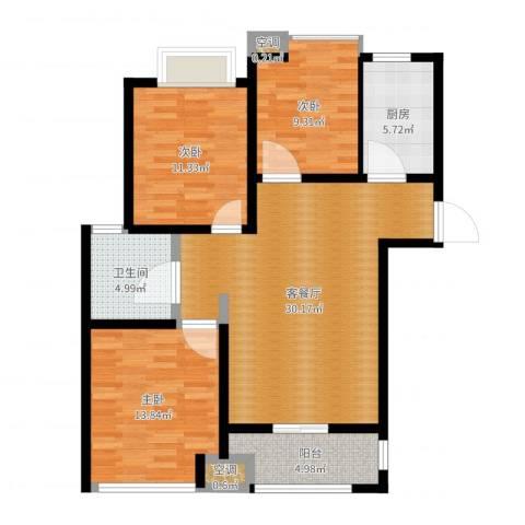 中茵龙湖国际3室2厅2卫2厨91.00㎡户型图