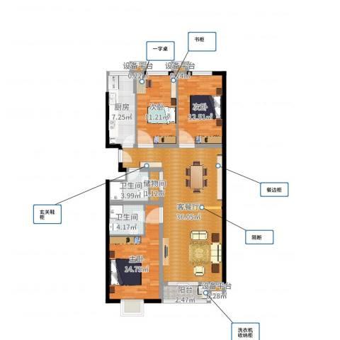 西山枫林3室2厅2卫1厨118.00㎡户型图