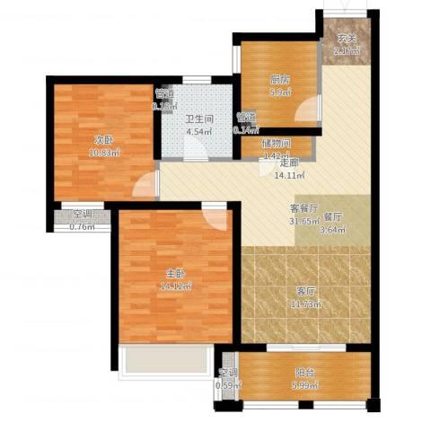 尼德兰花园二期2室2厅1卫1厨95.00㎡户型图