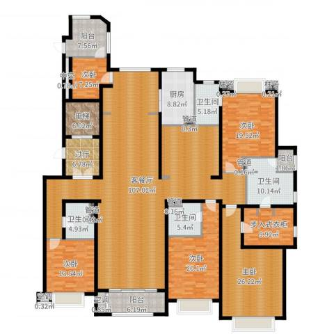 绿洲雅宾利花园三期5室2厅4卫1厨337.00㎡户型图