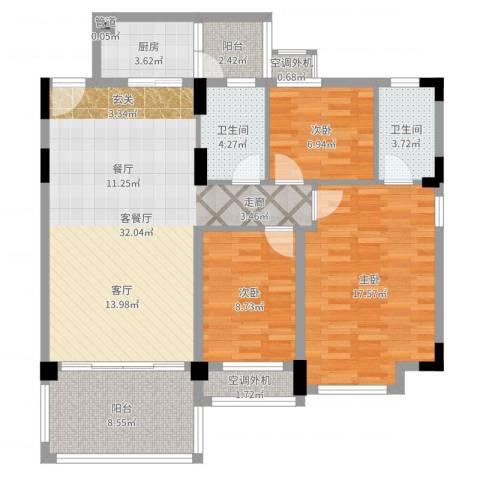 华南碧桂园6米阳光3室2厅2卫1厨113.00㎡户型图