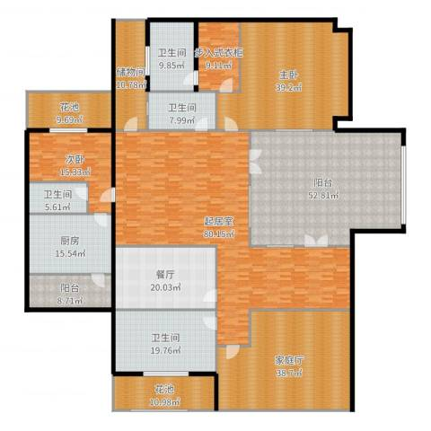 紫都上海晶园2室1厅4卫1厨443.00㎡户型图