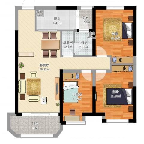 金地艺华年3室2厅4卫1厨91.00㎡户型图