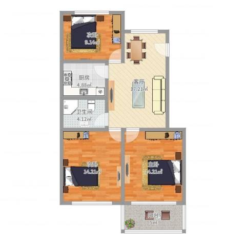 龙南七村3室1厅1卫1厨86.00㎡户型图