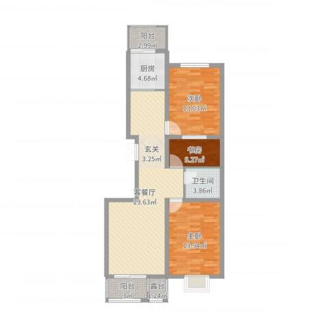 浦东经典家园3室2厅1卫1厨97.00㎡户型图