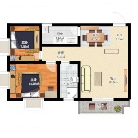 盛世华庭2室2厅1卫1厨89.00㎡户型图