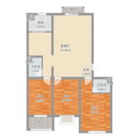 飞宇花园南区3室2厅2卫1厨117.00㎡户型图