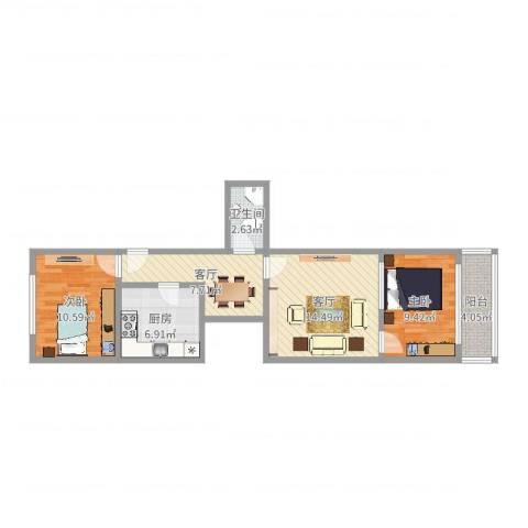 清真路71号2室2厅1卫1厨70.00㎡户型图