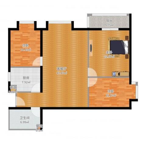 北京上舍3室2厅1卫1厨150.00㎡户型图