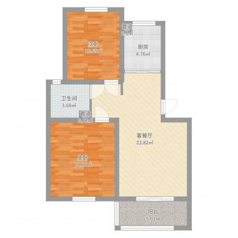 五星家园2室2厅1卫1厨62.41㎡户型图