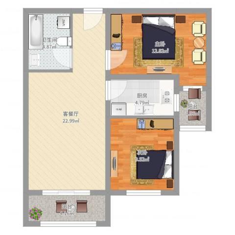 帝景公馆2室2厅1卫1厨76.00㎡户型图