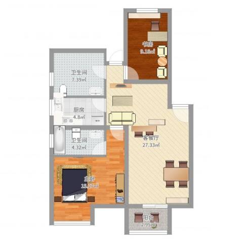 翰林湖畔2室2厅2卫1厨89.00㎡户型图