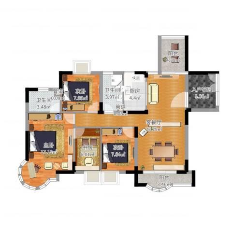 健逸天地三期4室2厅2卫1厨116.00㎡户型图