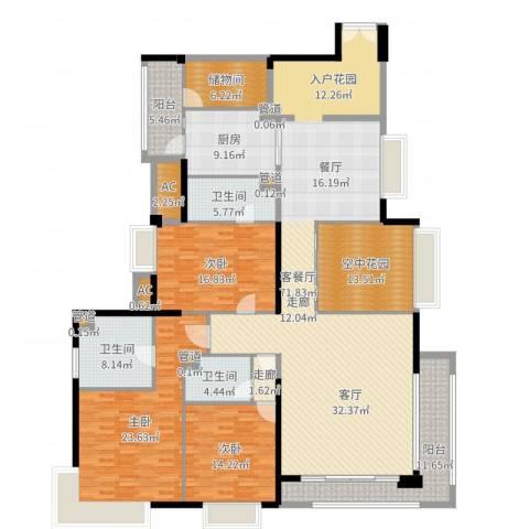 中海银海湾3室2厅3卫1厨245.00㎡户型图