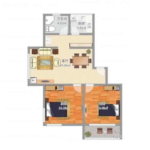 新月福邸2室1厅1卫1厨87.00㎡户型图