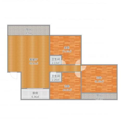 鹭腾花园3室2厅2卫1厨159.00㎡户型图