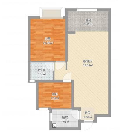 朗贤奥特莱斯小镇2室2厅1卫1厨79.00㎡户型图