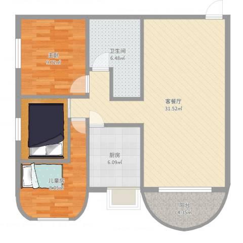 福津大街2室2厅1卫1厨90.00㎡户型图