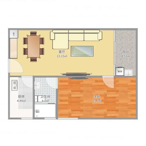 中梁v城市1室1厅1卫1厨65.00㎡户型图