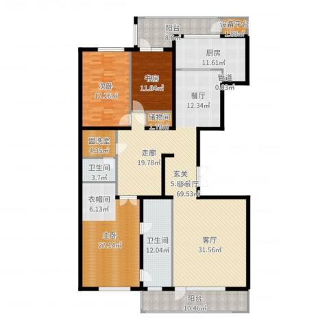 五矿万科・如园3室2厅2卫1厨225.00㎡户型图