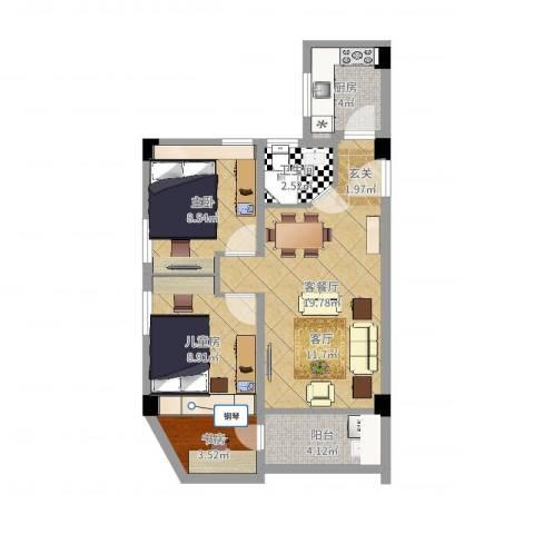 东河苑小区3室2厅1卫1厨51.38㎡户型图