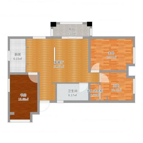 国信上城学府12-1-16013室2厅1卫1厨116.00㎡户型图