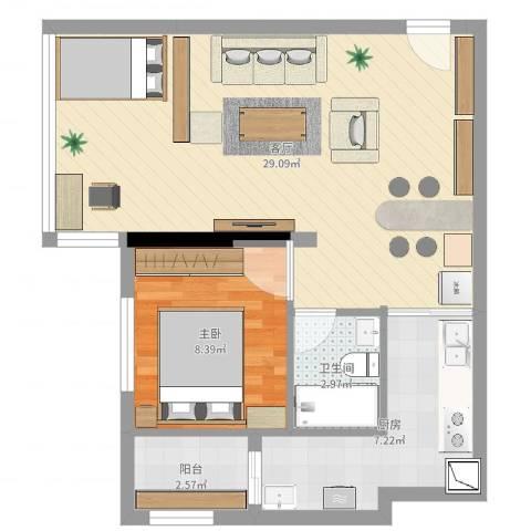 光华可乐小镇60平米小户1室1厅1卫1厨63.00㎡户型图